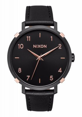 Nixon Wms Arrow Leather - Black/Rose Gold/Cage